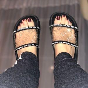Pink Victoria secret clear slides sandals